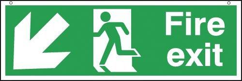 Fire Exit Man/Left Diagonal Down Arrow Hanging Signs