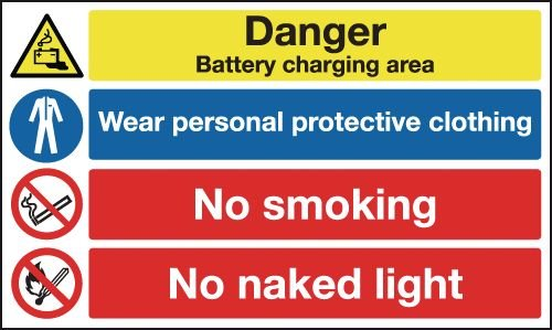 Battery/PPE/No Smoking Multi-Message Signs