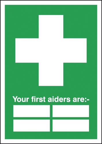 "Your First Aiders Are "" "" Signs"