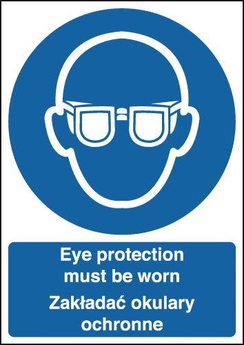 Eye Protection Must Be Worn - Polish Sign