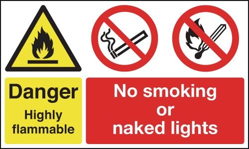 Danger Highly Flammable/No Smoking/Naked Lights Signs