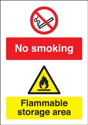 No Smoking Flammable Storage Area Multi-Message Signs