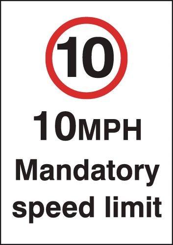 10 mph Mandatory Speed Limit Signs