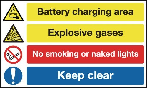 Battery Charging Area/Explosive Gases... Signs