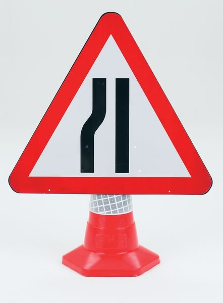 Road Narrows (Left) Traffic Cone Sign