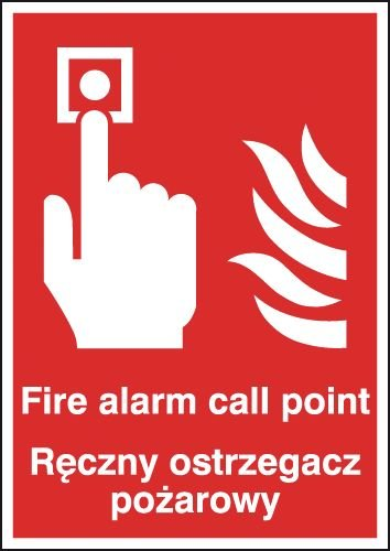 Fire Alarm Call Point Polish/English Signs