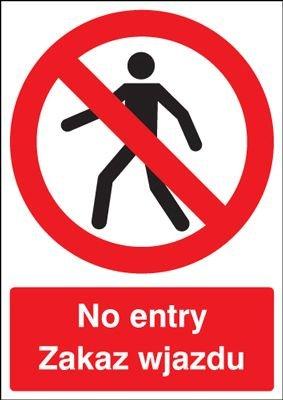 No Entry English \ Polish Multi-Language Signs