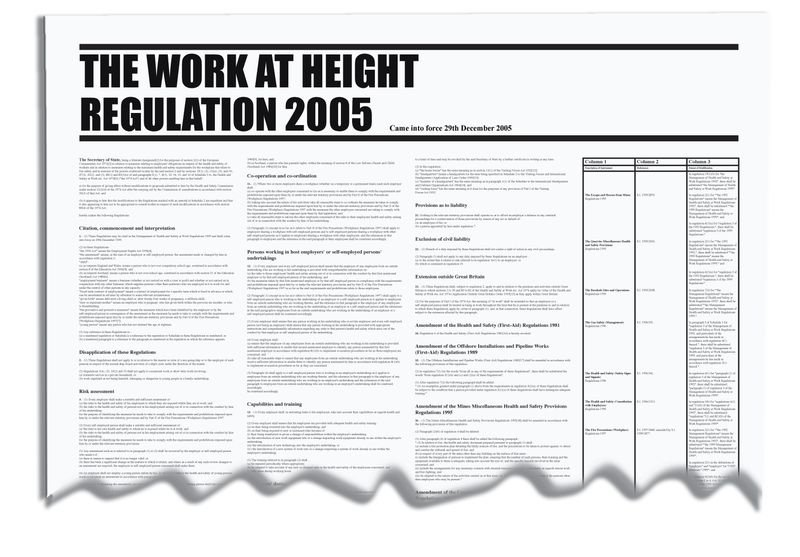The Work At Height Regulation 2005 Workplace Wallchart