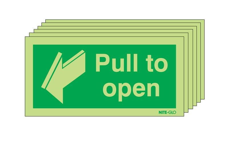 6-Pack Nite-Glo Pull to Open Fire Door Signs