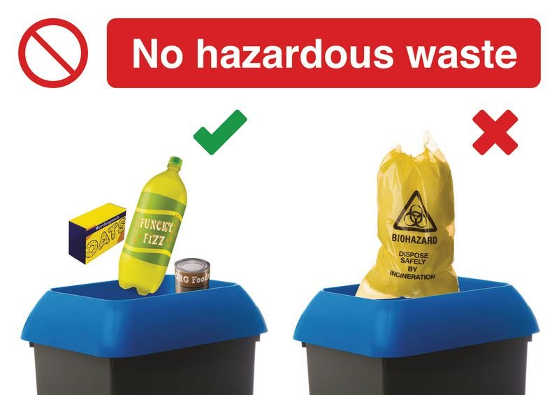 No Hazardous Waste Do & Don't Visual Signs