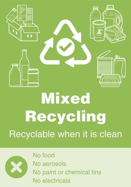 Mixed Recycling - WRAP Yes/No Symbol Sign