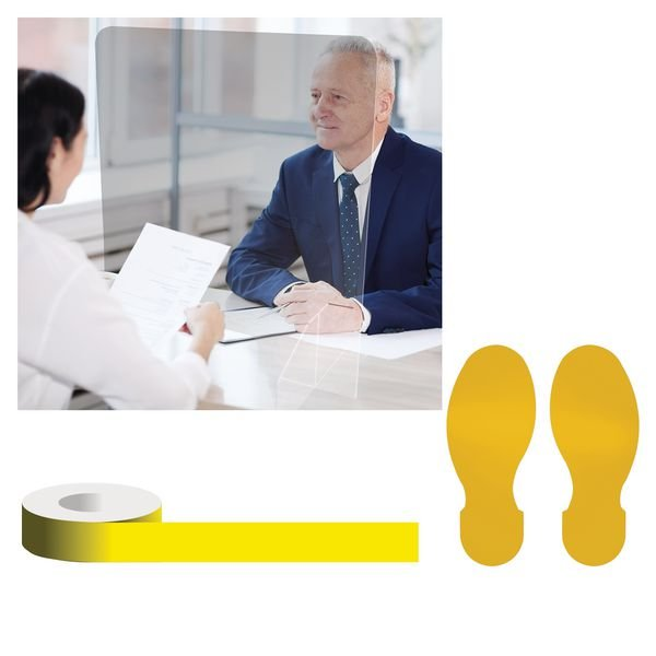 Office/Retail Footprint Floor Sign Social Distancing Bundle Kits