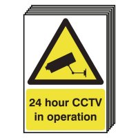 6-Pack 24 Hour CCTV In Operation Signs