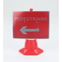 Pedestrians (Arrow Left) Traffic Cone Sign