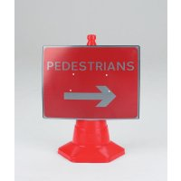 Pedestrians (Arrow Right) Traffic Cone Sign