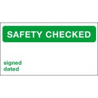 Safety Checked/Signed/Dated Quality Control Labels
