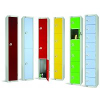 Coloured Multi-Compartment Storage Lockers