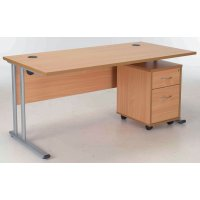 Concept Rectangular Workstation with 2 Drawer Pedestal