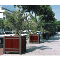 Steel and Oak Outdoor Planters