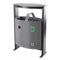 Achilles Outdoor Two Compartment Metal Recycling & Waste Bin