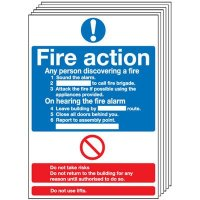 6-Pack Fire Action Signs