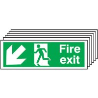 6-Pack Fire Exit Running Man/Arrow Diagonal Down Signs