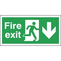 6-Pack Fire Exit Running Man & Arrow Down Right Signs