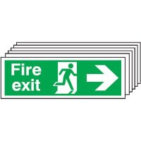 6-Pack Fire Exit Running Man & Arrow Right Signs