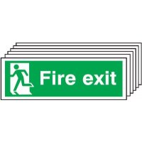 6-Pack Fire Exit Running Man Left Signs