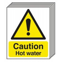 6-Pack Caution Hot Water Signs