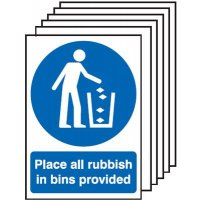 6-Pack Place All Rubbish In Bins Provided Signs