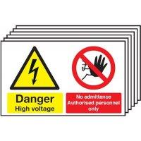 6-Pack Danger High Voltage/No Admittance Signs
