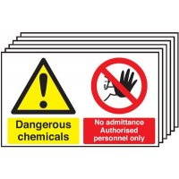 6-Pack Dangerous Chemicals/No Admittance Signs