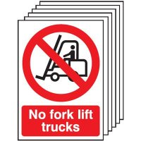 6-Pack No Fork Lift Trucks Signs