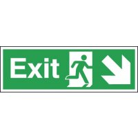 Exit Running Man Right Diagonal Arrow Down Signs