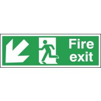 Fire Exit Running Man Left & Diagonal Arrow Down Signs