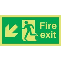 Xtra-Glo Fire Exit Man Left/Diagonal Arrow Down Signs