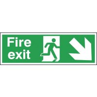 Fire Exit Man/Right Diagonal Down Arrow Hanging Signs