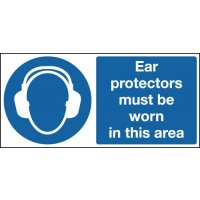 Ear Protectors Must Be Worn Double-Sided Hanging Sign