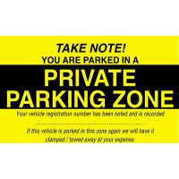 Private Parking Zone Window Cling Parking Control Label