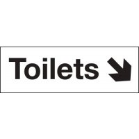 Toilets Down Right Arrow Washroom Signs