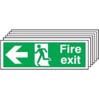 6-Pack Fire Exit Running Man & Left Arrow Signs