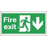 Fire Exit Running Man & Arrow Down Sign