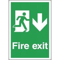 Fire Exit Running Man & Arrow Down Signs