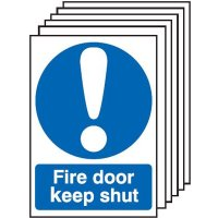 6-Pack Fire Door Keep Shut Signs With Symbol