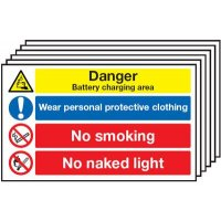 Battery/PPE/No Smoking 6-Pack Multi-Message Signs