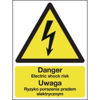 Danger Electric Shock Risk (English & Polish) Sign