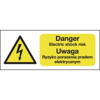 Danger Electric Shock Risk (English & Polish) Sign