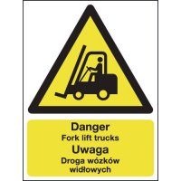 Danger Forklift Trucks Polish/English Sign