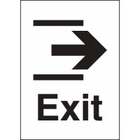 Exit (Right Arrow) Metal Look Signs